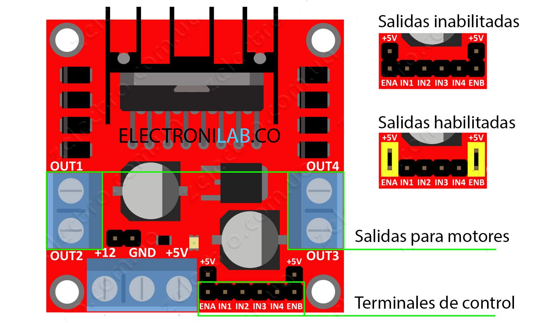 TIMESETL 5 piezas puente H doble L298N controlador del motor placa motor m/ódulo de accionamiento del motor placa controladora del controlador para Arduino Accesorio de Receptores de Tr/áfico TMC
